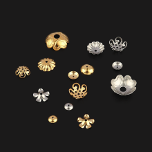 Stainless Steel Flower Charms Silver Gold Plated Flower Petal End Spacer Beads Caps Charms Bead Cups For Jewelry Making DIY