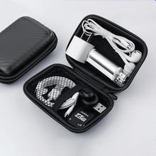 حقيبة تخزين محمولة لسماعات الأذن ، مع غطاء واقي مقاوم للماء ، ملحقات سماعة الرأس ، حقيبة صلبة ، صندوق صغير