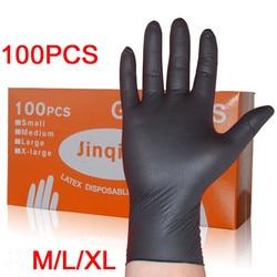 LESHP 100 ピース/セット洗濯使い捨てメカニック手袋黒ニトリル実験室ネイルアート帯電防止手袋