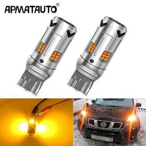 Image 1 - 2X yok Hyper flaş Amber 1156 BA15s P21W 7507 LED ampuller araba için Honda, Hyundai, Nissan, mitsubishi ön veya arka dönüş sinyali işık