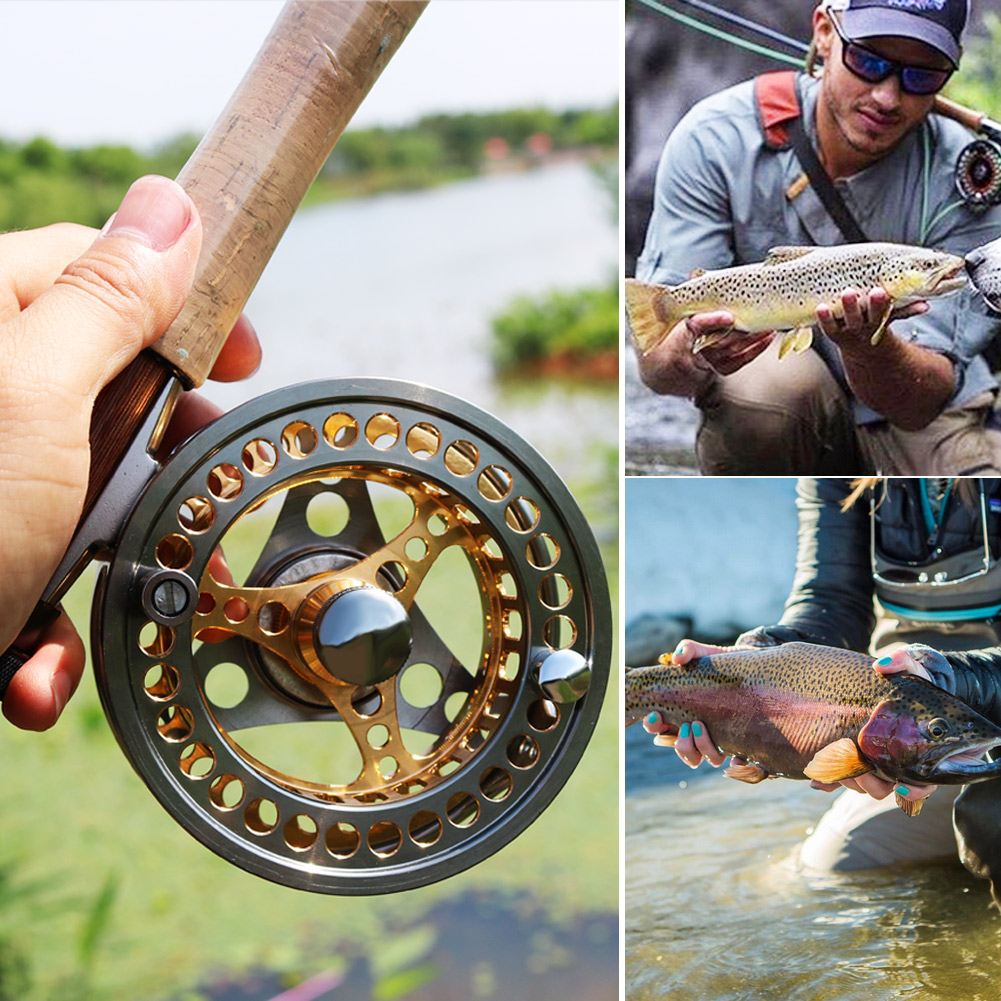 Sougayilang Large Arbor Fly Fishing Reel 2+1 BB High Die Casting Aluminium Alloy Spool Fly Reels Fishing Tackle 21