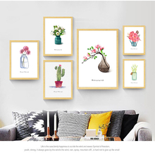 Vase Canvas Painting Pink Flower Nordic Poster Cactus Posters And Prints Abstract Art Print Wall Pictures For Living Room