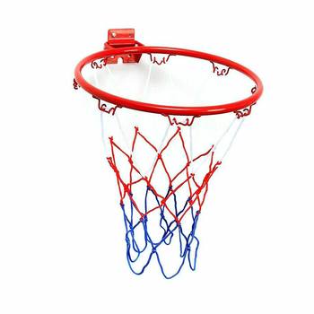32cm Wall Mounted Basketball Hoop Netting Metal Rim Hanging Basket Basket-ball Wall Rim w/ Screws Indoor Outdoor Sport