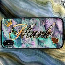 ための iphone 11 プロマックス 6 7 8 10 プラス XR XS XSMAX × 人格虹ソフトカバーユニークなギフトカスタム名グリッター電話ケース