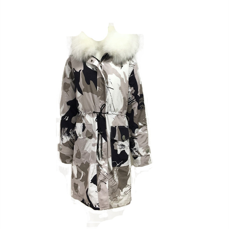 2019 Wintwe New Camouflage Casual Men Jacket With Rice White Raccon Fur With Hood Tops And Blouses S-4XL Can Be Custom