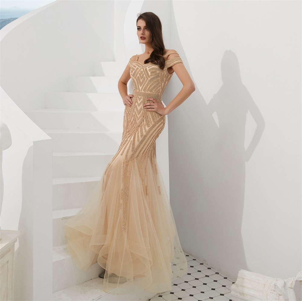 Beaded Prom Dresses 2020 Champagne Mermaid Prom Dress Sweetheart Off Shoulder Ruched Tulle Beading Formal Dress