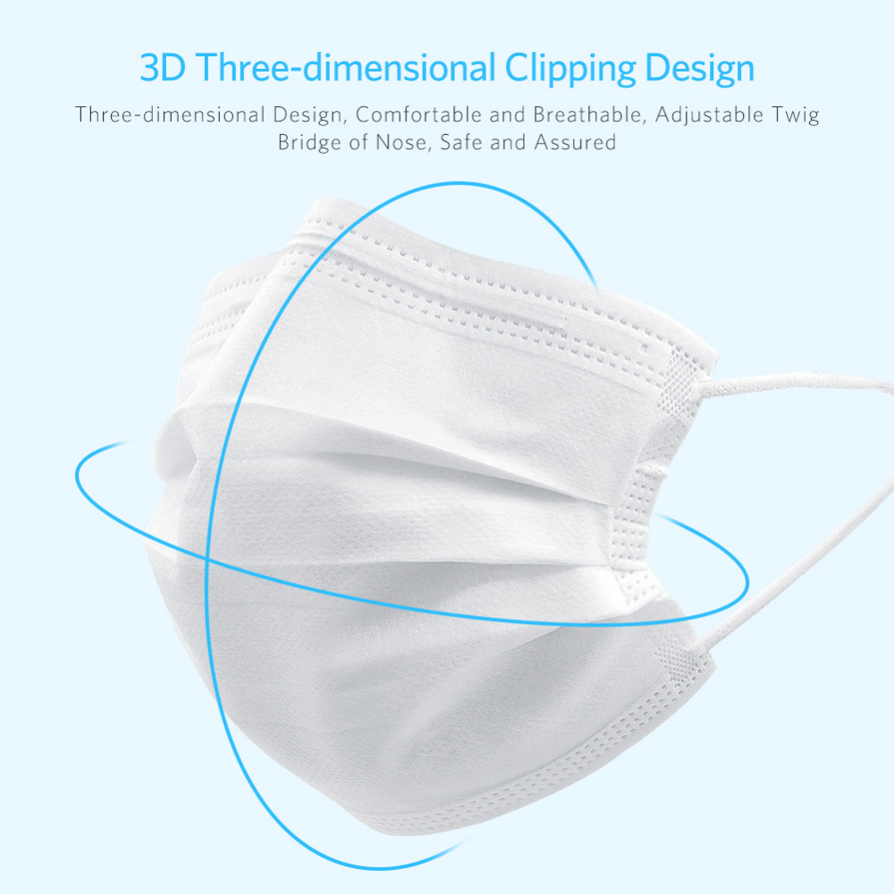 Disposable Masks 50Pcs Mask 3-Ply Anti-virus Anti-Dust Meltblown Cloth White And Blue Nonwoven Elastic Earloop Mouth Face Masks