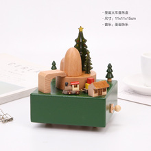 Toy Vintage-Accessories Christmas-Train Retro Carousel Wood Crafts Ribbon Music-Box Birthday-Gift