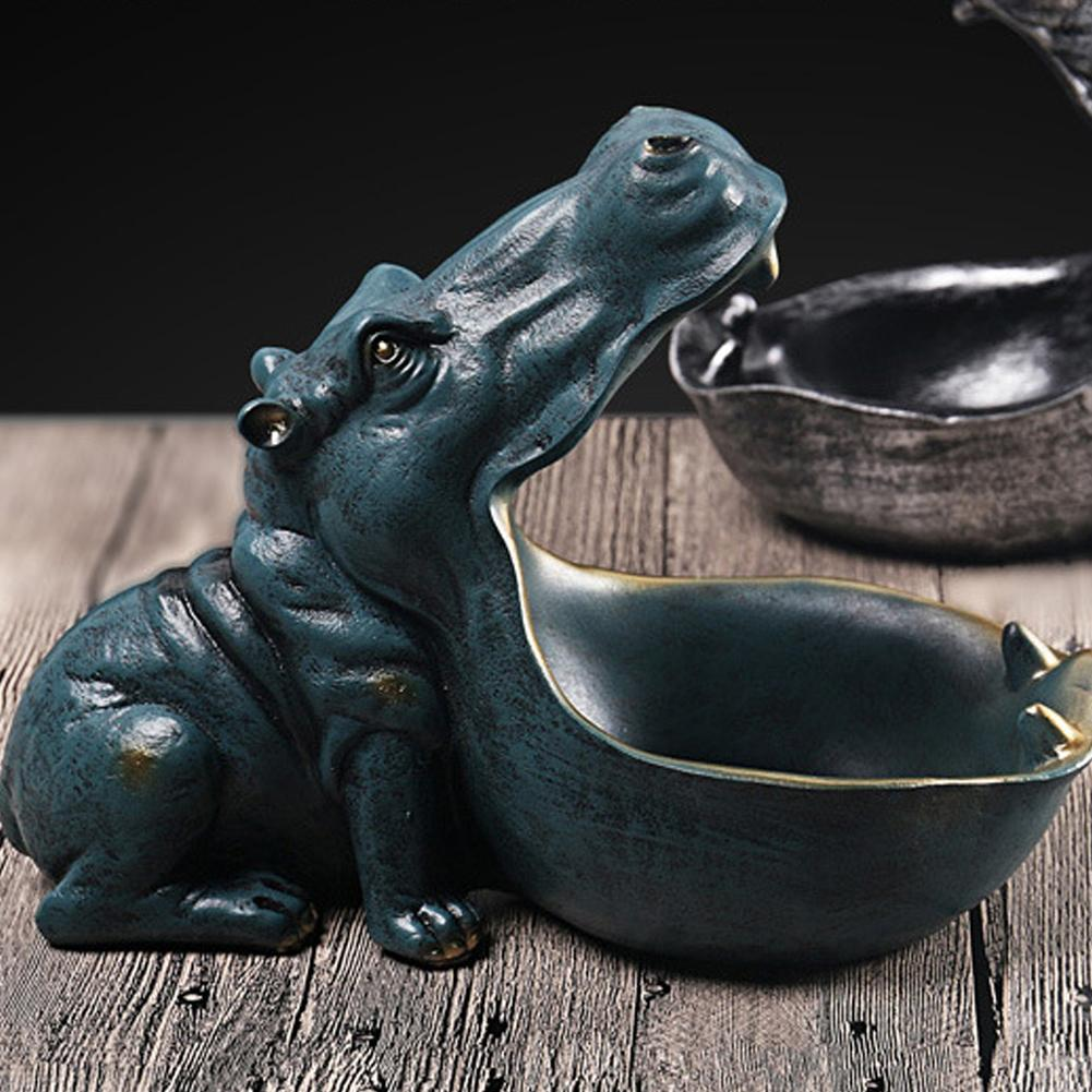 Resin Hippo Figures Keychain Desktop Decoration Home Accessories Porch Remote Control Storage Animal Ornament Gift