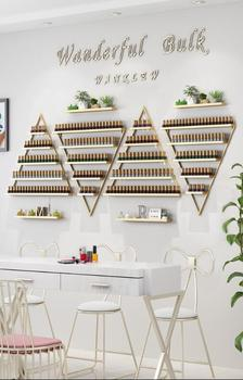 Iron art nail rack, polish shelf, wall hanging triangle shelf.
