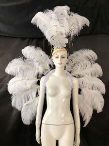 Image 5 - Vestuário de penas palco desempenho passarela carnaval headdress flor pubs festa roupas femininas