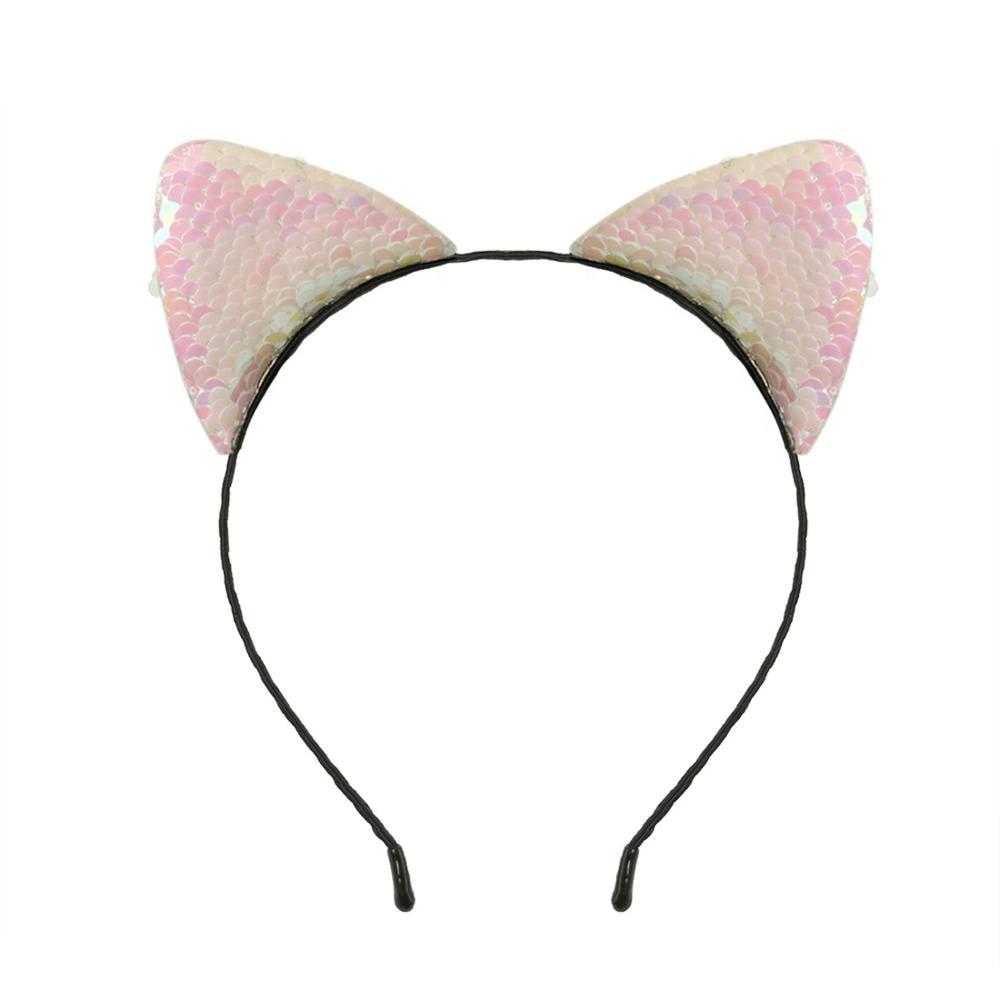 Cute Girls Sequin Cat Ear Head Chain Jewelry Hair Band Holiday Headband Kids Girls sequined Head Hoop Hair Accessorie 1pcs 1 ord