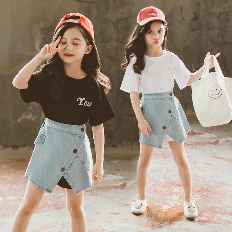 Conjunto de Ropa para Niñas, camiseta con letras, Falda