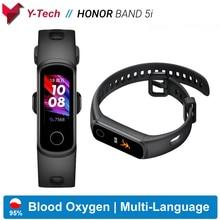 Huawei honor band 5i banda inteligente oxigênio no sangue relógio inteligente controle de música monitor de freqüência cardíaca saúde novos rostos relógio usb plug carga