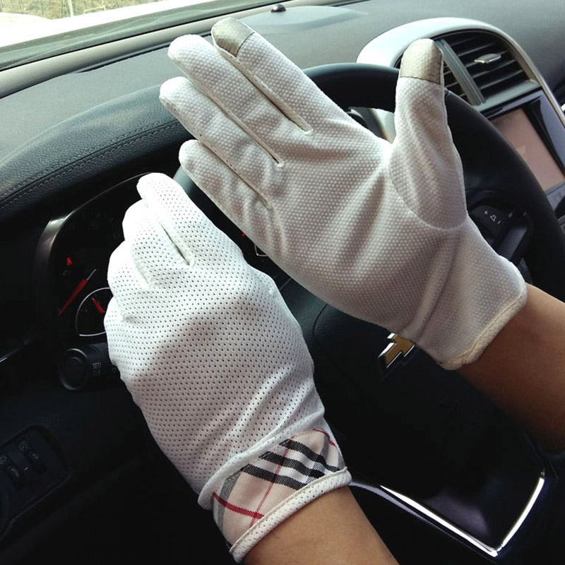 Fashion Men's Touch Screen Driving Gloves Summer Thin Cotton Outdoor Sports Fitness Cycling Sunscreen Short Sun Gloves B94