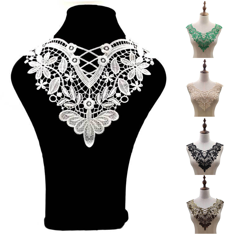 White Lace Neckline Patches DIY Fabic Embroidered Applique Neckline For Lace Fabric Sewing Supplies Scrapbooking Applique Patch
