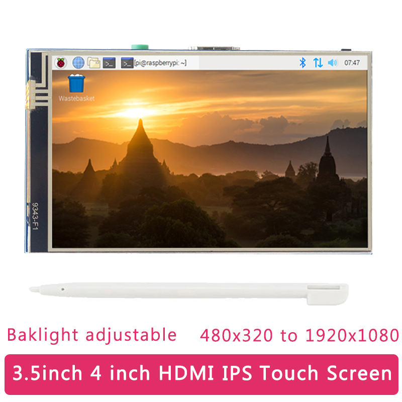 Raspberry Pi 4 Inch 3.5 Inch LCD Touch Screen 480x320 To 1920x1080 IPS Backlight Adjustable Display For RPI 4B/B+/3B/Zero PC