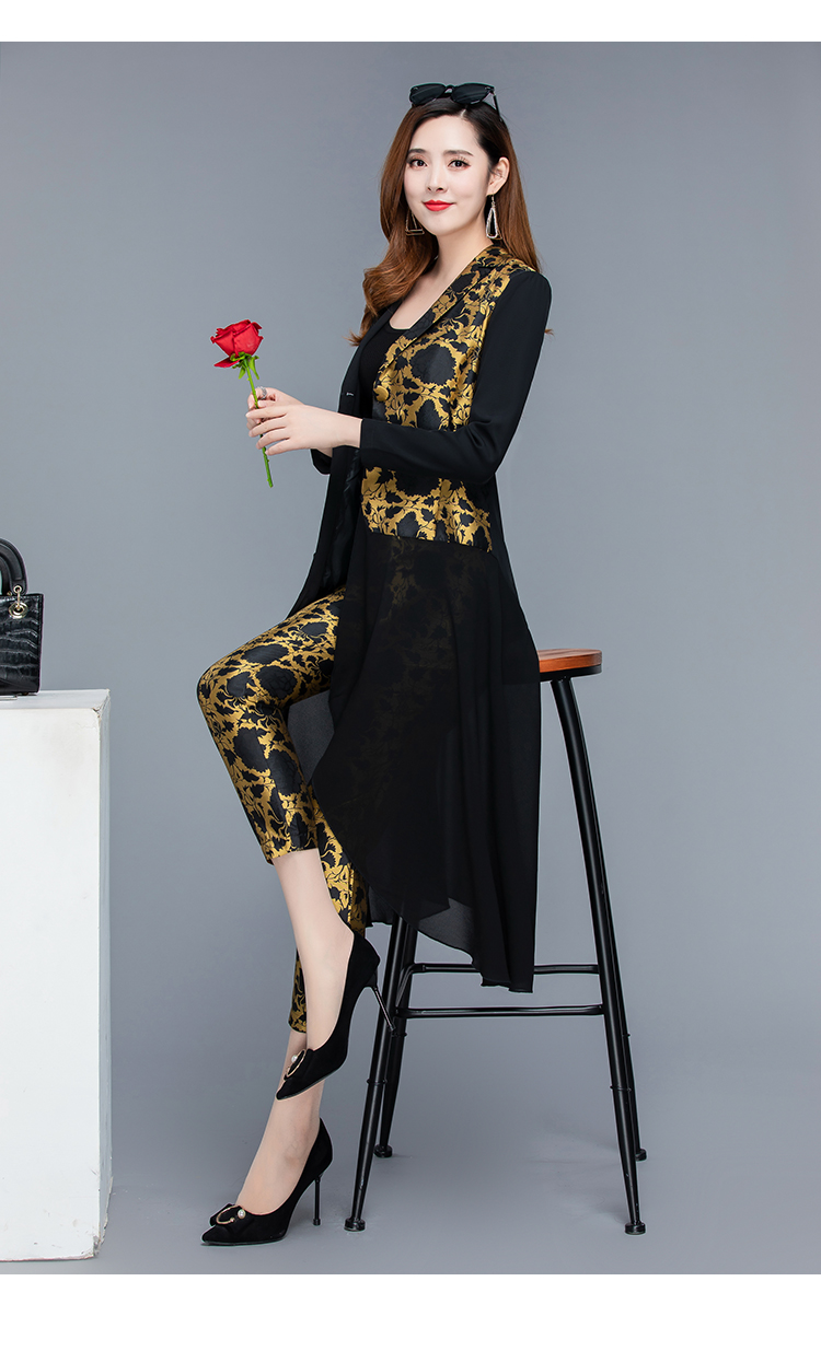 2019 Autumn Black Vintage Printed Two Piece Sets Outfits Women Plus Size Long Tops With Belt And Pants Suits Elegant Office Sets 48