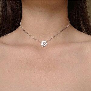 Elegante doce flor colar para as mulheres simples contas de metal ouro prata cor clavícula corrente colares senhora moda jóias