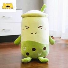 50cm Green Matcha Bubble Tea Cup Shaped Pillow Pearl Milk Tea Bubble Tea Plush Stuffed Soft Toys Cushion Plush Food Pillow Gifts