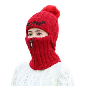 Image 5 - 2pcs Knit Beanie Hat and Scarf Set Hairball Pompom Hats Female Thick Hat Winter Warm Cute Girls Fashion Letter Smiley Zipper hat