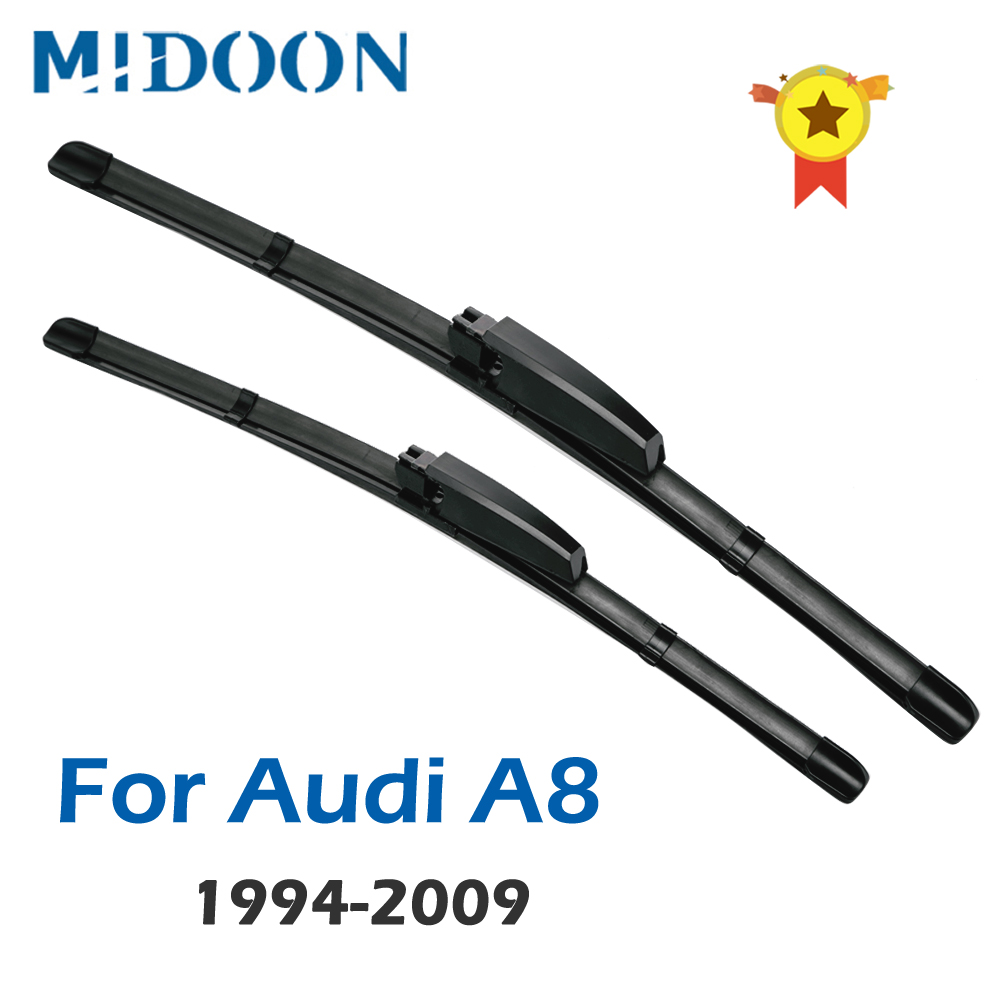MIDOON Wiper Blades for <font><b>Audi</b></font> <font><b>A8</b></font> <font><b>D2</b></font> / D3 / D4 Fit Hook Arms / Slider Arms / Push Button Arms From 1994 to 2010 image