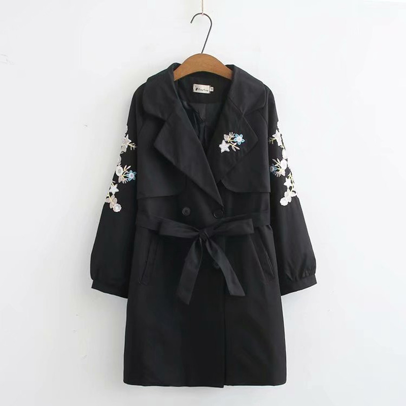 Plus Size Korean Style Women's Floral Embroidery   trench   Casual Long Sleeve V-neck OL Coats womens   trench   coats