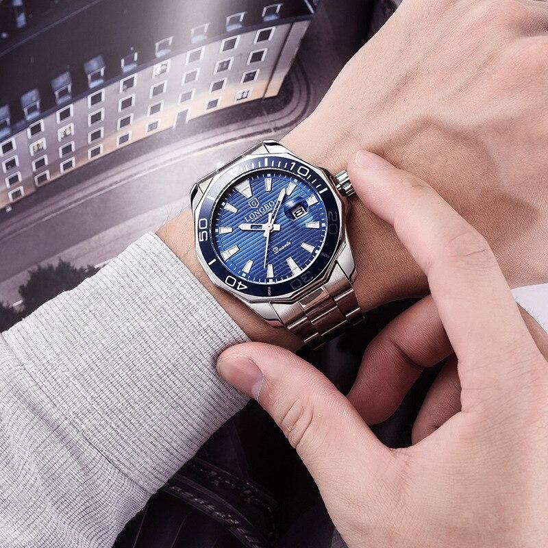 Image 3 - LONGBO Quartz Watches Men Popular Brand Sports Wristwatches Business Stainless Steel Waterproof Clock Relogio MasculinoQuartz Watches   -