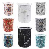 Dobrável roupas de armazenamento barril cesta lona grande organizador armazenamento à prova dwaterproof água lavanderia cesta crianças brinquedos titular armazenamento