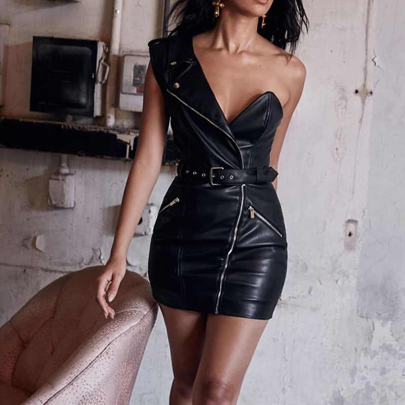 Siyah Faux PU deri yüksek belli kadın elbise kemeri bir omuz Mini tüp elbiseler bayanlar 2020 seksi Bodycon kadın Vestidos