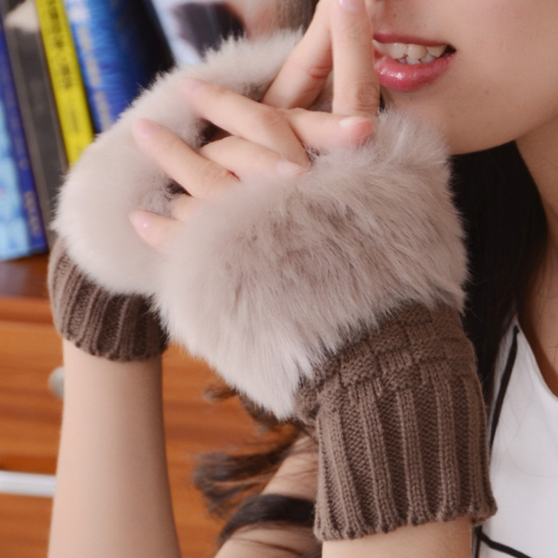 Neue Ankunft <font><b>Winter</b></font> Warm Kaninchen Pelz Handschuhe Frauen Stretchy Handgelenk Finger Erwachsene Fashion Solid Warme Verdicken Stretch Handschuhe image