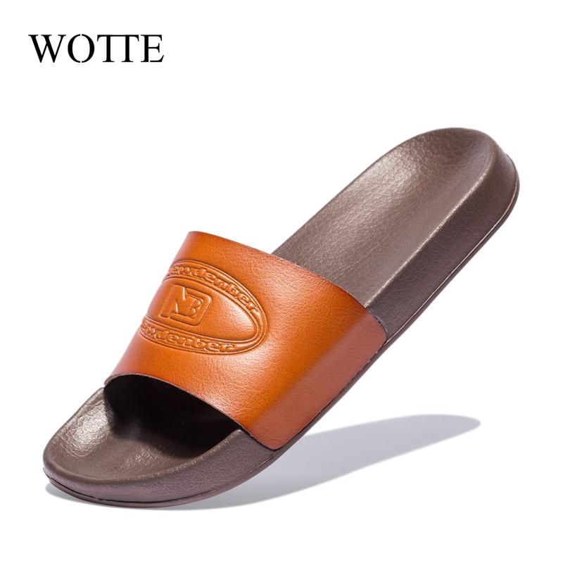 WOTTE 2020 Mens Flip Flops Home Slippers Casual Shoes Non-slip Slides Bathroom Sandals Soft Sole Flat Heels Slide For Men тапочк