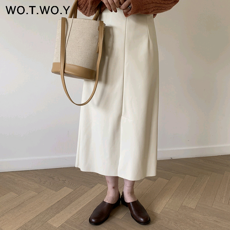 WOTWOY Casual Faux Leather White Skirt Women Autumn 2020 Straight Mid-Calf Side Slit Elegant Office Lady Skirt Women Fashion