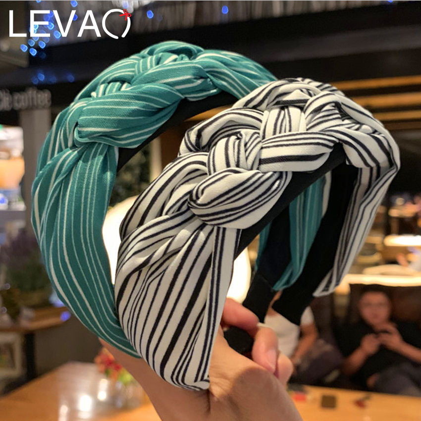 Levao Autumn Knotted Twist Headband For Women New Wide Stripped Black Dot Hairband Briad Hair Hoop Girls Hair Accessories