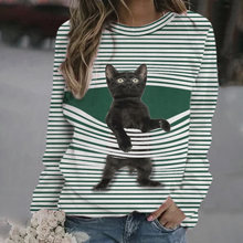 Fall 2020 women autumn lovely 3d cat stripe t shirt fashion