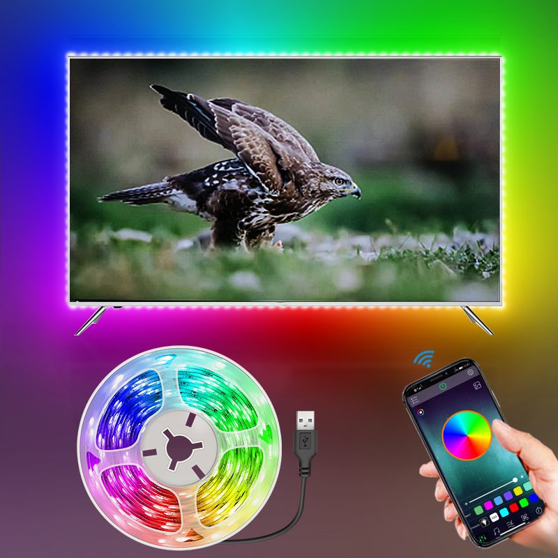 Bluetooth USB LED Strip Light Flexible Lamp 1M 2M 3M 5M 10M 15M RGB Led Tape Diode SMD 5050 Desk Screen TV Background Lighting