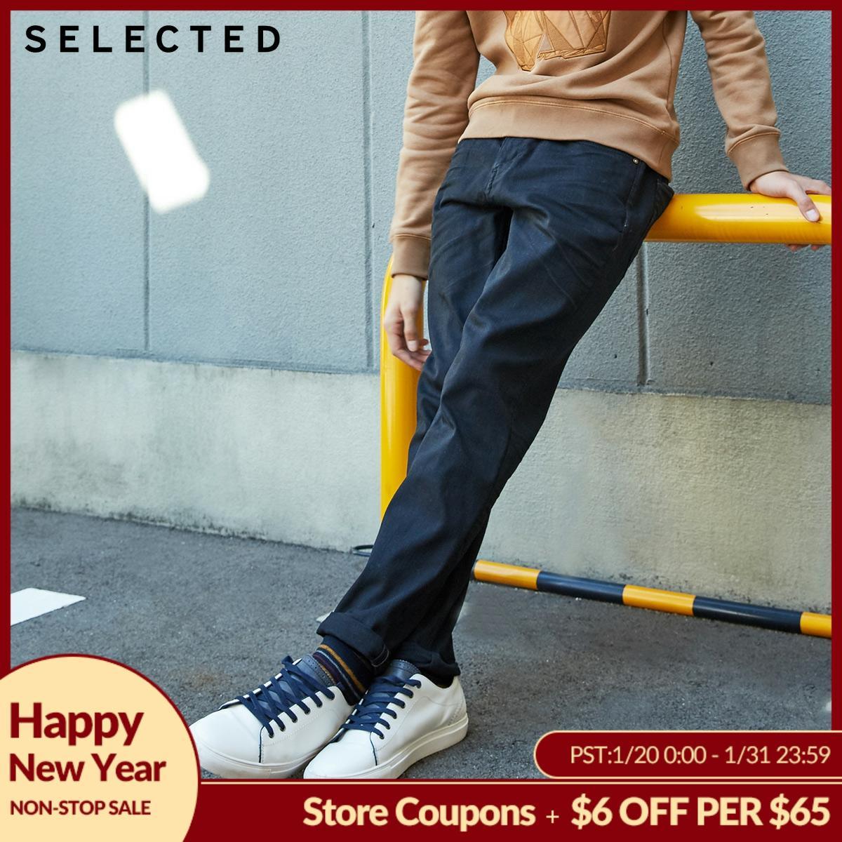 SELECTED Men's Autumn & Winter Fit Jeans Clothes Stretch Cotton Straight Denim Pants C   418432526