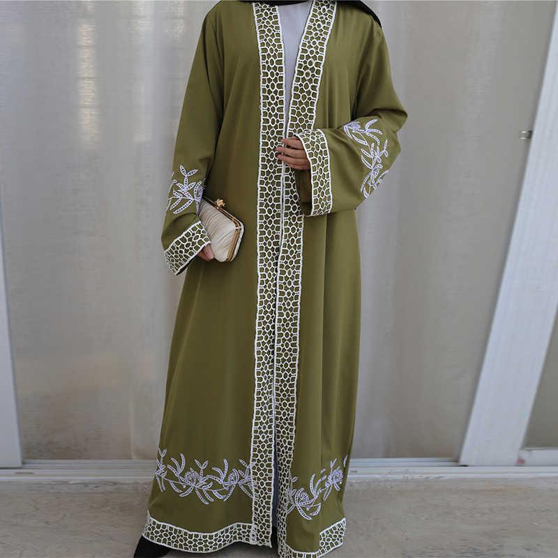 Siskakia eid abaya 2020 novos laços bordados guarnição oriente médio islâmico dubai abaya frente aberta kimonos turquia kaftans & jubah emirados árabes unidos