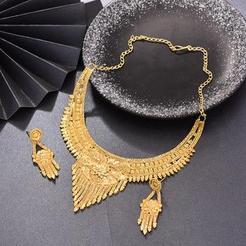 WANDO Dubai Jewelry Set Luxury Gold Color For Bride Women  Big Nigerian Wedding African Necklace Earrings Rings Jewelry Sets fashion dubai crystal necklace earring jewelry set gold color nigerian wedding african beads jewelry sets parure bijoux femme