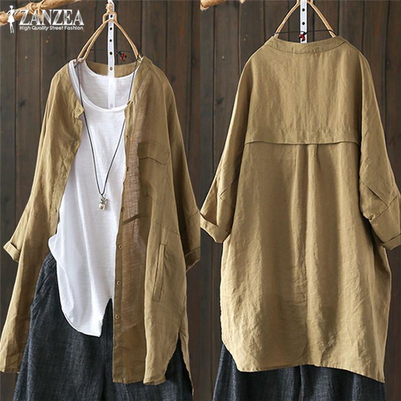 Womens Shirts 2021 ZANZEA Vintage Cotton Tunic Casual Long Sleeve Shirt Button Cardigans Female Soid Patchwork Tops Plus Size