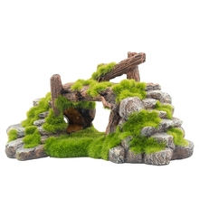Big deal Resin Moss Bridge Fish Play Cave Decor for Fish Tank Aquarium Ornament