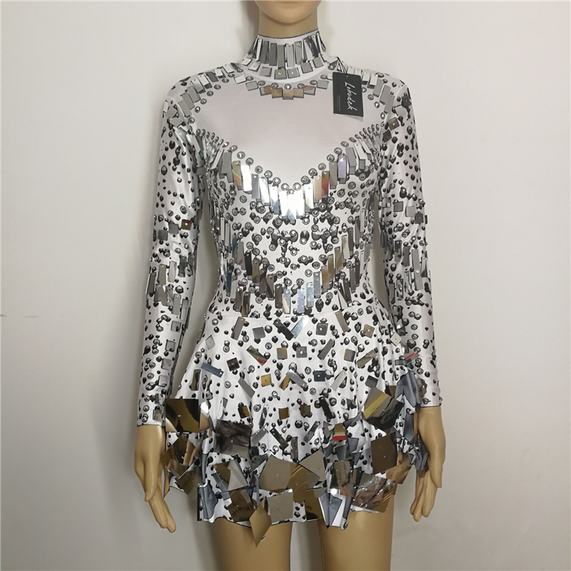 Black White Sequins Mirrors Stones Sexy Female Costumes Bright Crystals Singer Nightclub Bar Show DJ Dress Performance Star