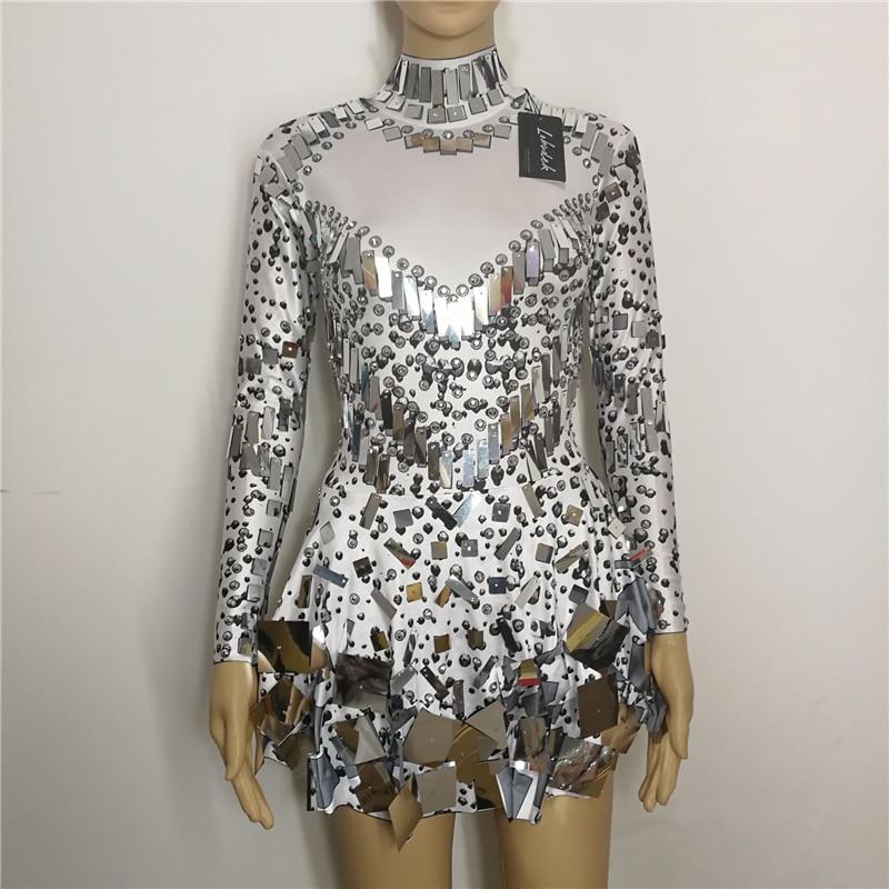 Black White Sequins Mirrors Stones Sexy Female Costumes Bright Crystals Singer Nightclub Bar Show DJ Dress Performance Star