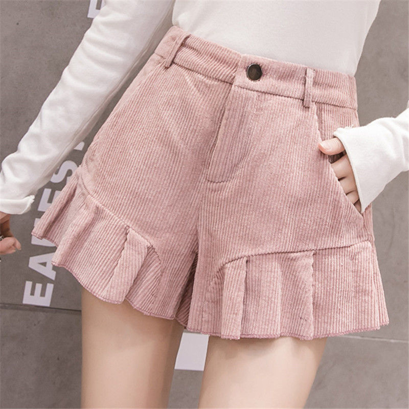 2019 Autumn Winter Corduroy Shorts Women Korean Style High Waist Ruffle Hem Short Pants Kawaii Cute All-Match Boots Shorts Girls