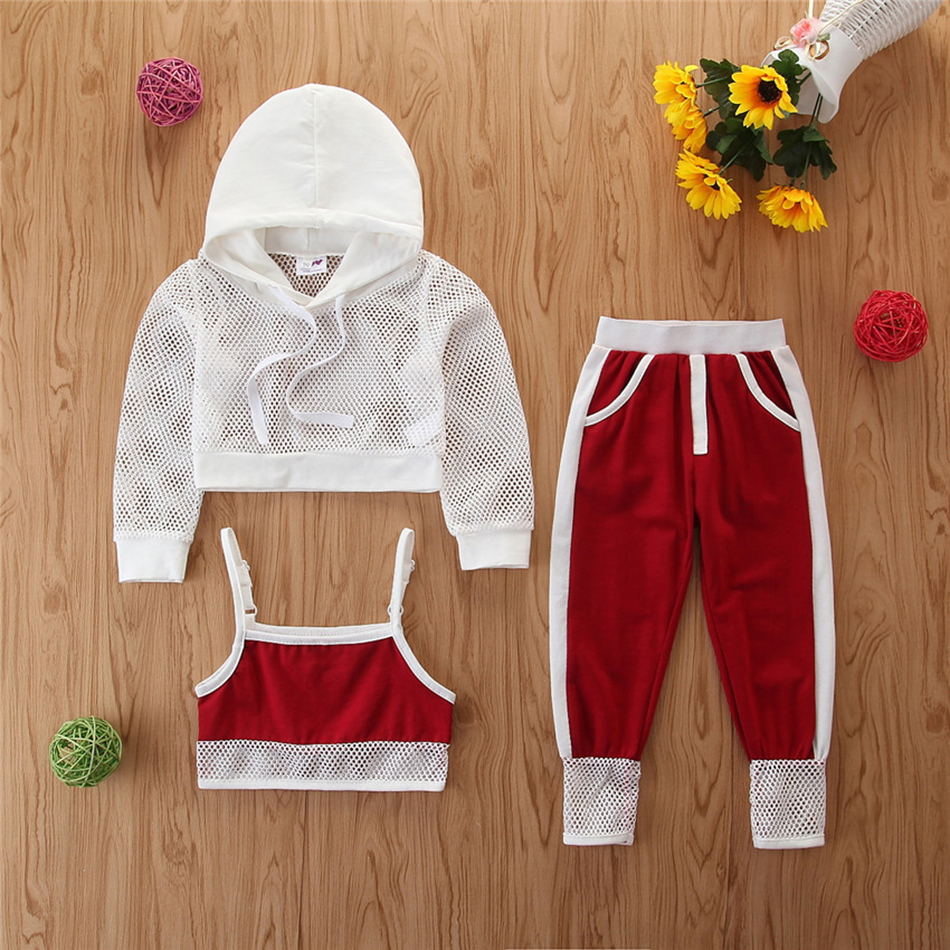1-6T Toddler Kids Baby Girl Summer Outfits Infant Clothes Sets Net Hooded T-Shirt Tops Pants Outfit Casual Sets Girls Tracksuits