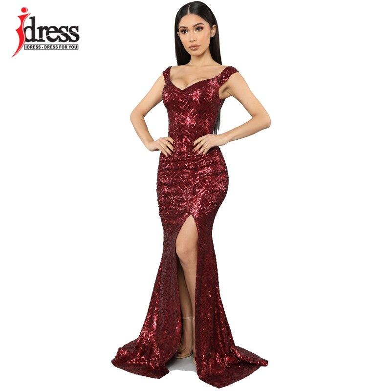 IDress Fashion Summer Sexy Party Night Dresses Black/ Gold/ Red Split Sequined Women Dress Evening Maxi Dress Elegant Long Prom|Dresses|   - AliExpress