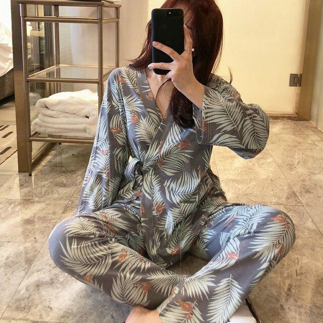 2021 Plus Size Pregnant Women's Pajamas Set For Pregnancy Spring Autumn Confinement Clothes For Postpartum Breastfeeding 1