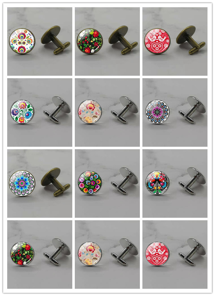 New Polish Folk Art Pattern Cufflinks Glass Convex Photo Cufflinks Crafts Jewelry