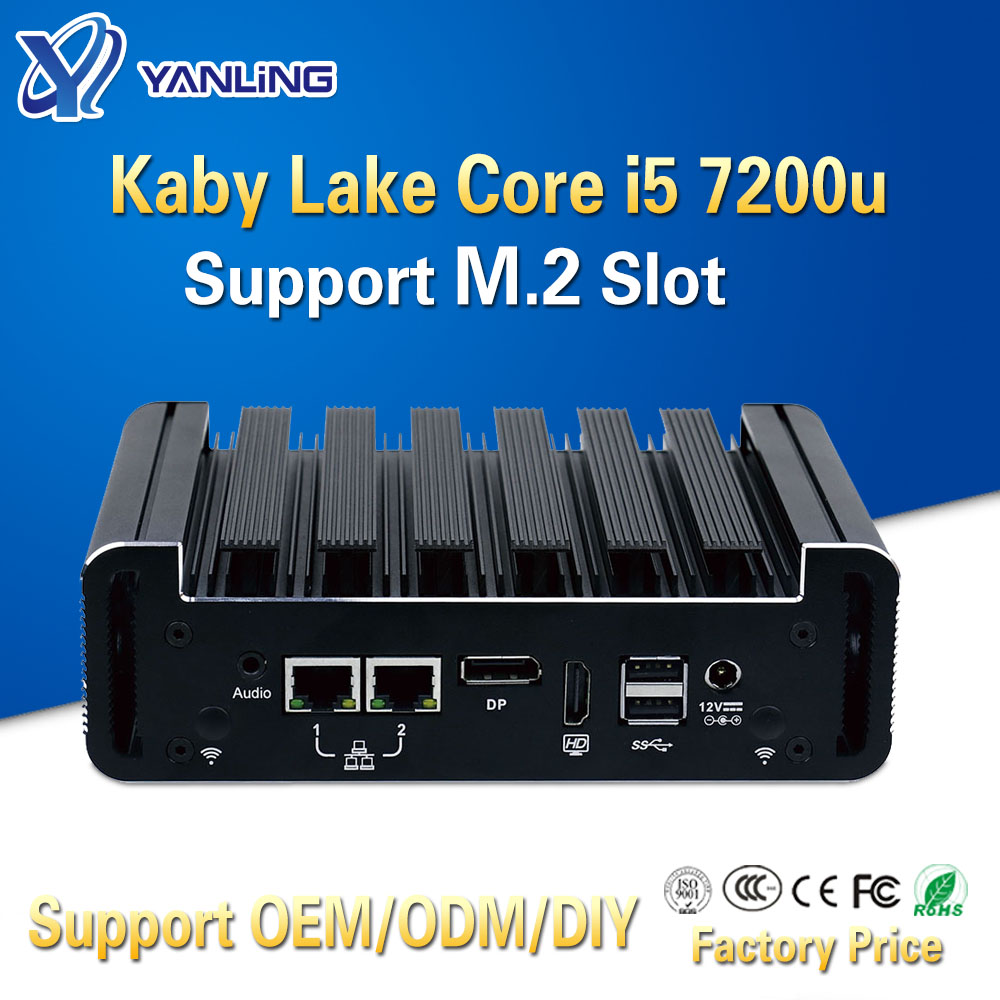 Yanling Low Power Consumption Mini Computer Kaby Lake Core I5 7200u Processor Support 4gb Ram NUC Fanless Pc For Business Office