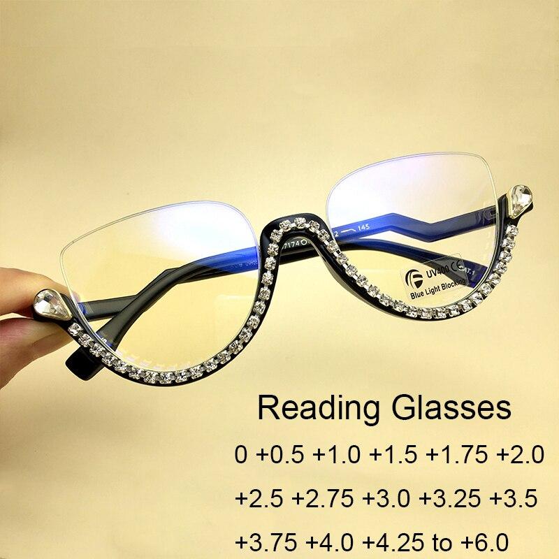 Luxe strass oeil de chat lecture lunettes dames 2020 mode ordinateur filtre bleu lumière bloquant lunettes demi cadre lunettes